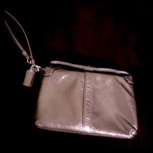 COACH Metallic Grey Leather Wristlet
